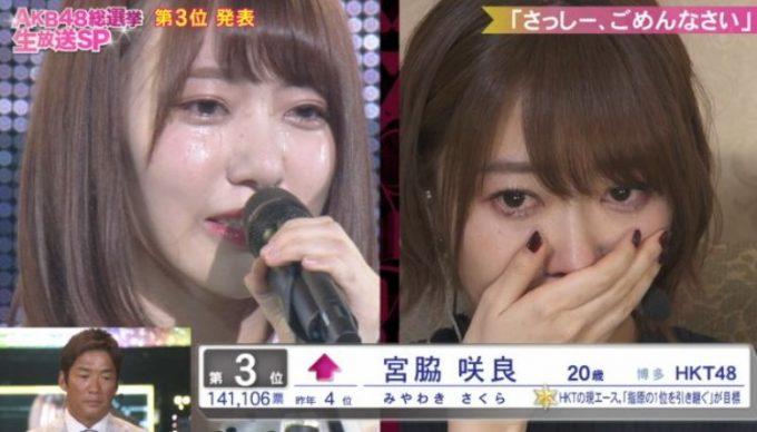 宮脇咲良はさっしーに謝罪し涙