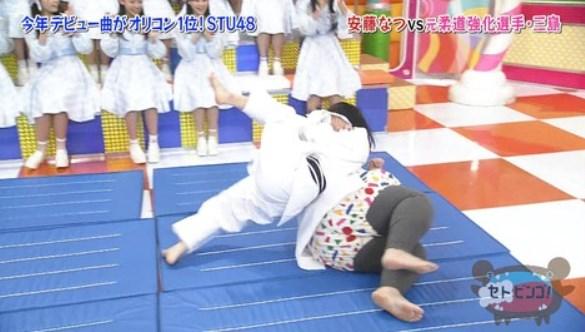 三島遥香が安藤ナツを一本背負いで投げた!